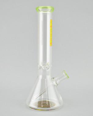 CHEECH - Mini Tube Beaker Bong with Rasta Spiral Linework & 14mm Female Joint