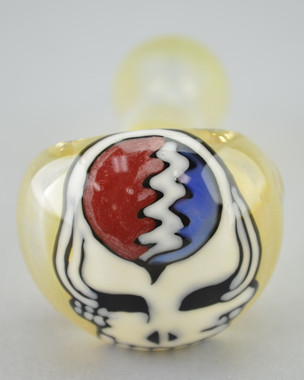 WINDSTAR - Fumed Glass Spoon Pipe w/ Glass Drawing - Steal Your Face