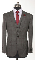 RSA 3 Piece Medium Grey Window Pane Slim Fit Suit
