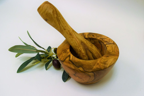 Olive Wood Large Mortar & Pestle