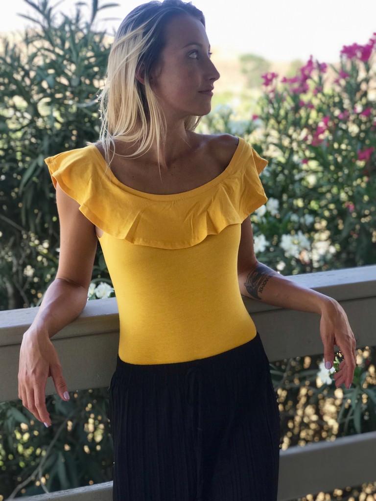 Ruffled Off Shoulder Bodysuit- Mustard