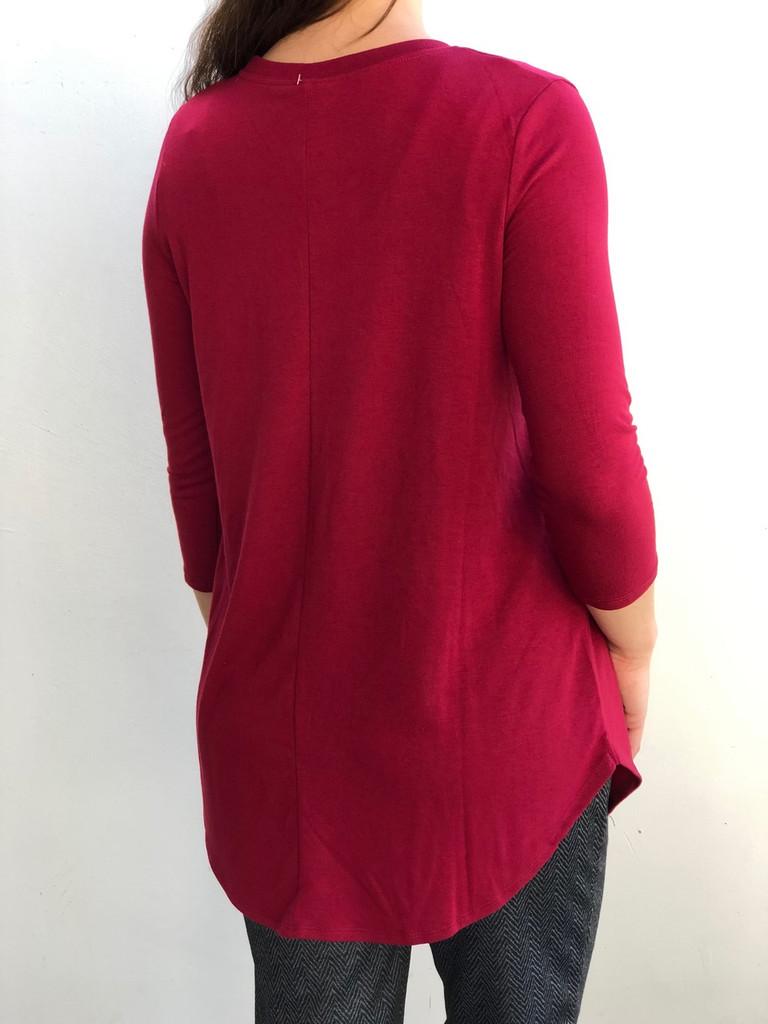3/4 Sleeve Round Neck- Cabernet