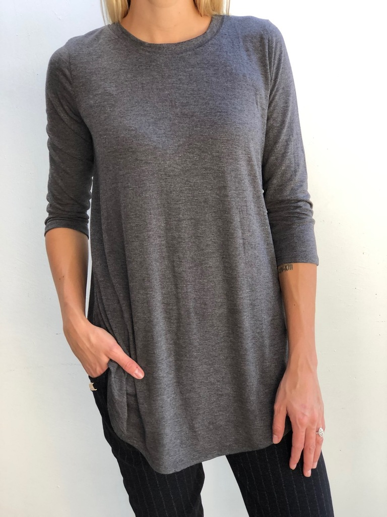 Plus Size 3/4 Sleeve Round Neck- Charcoal