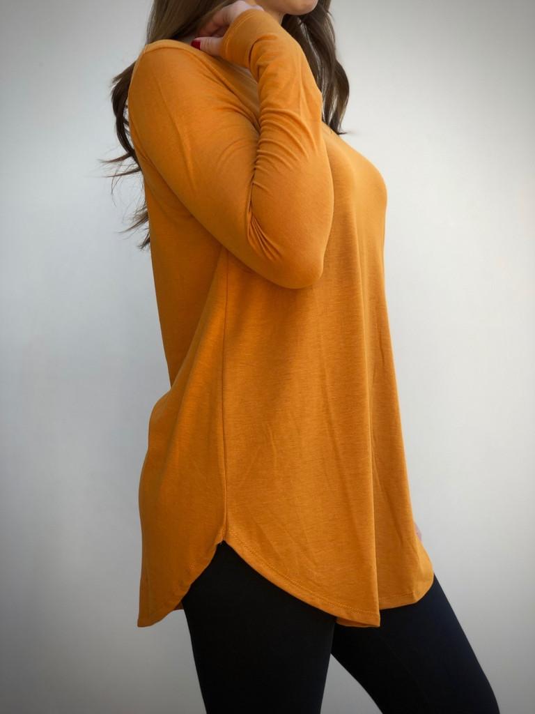 Plus Size Long Sleeve V-Neck- Desert Mustard