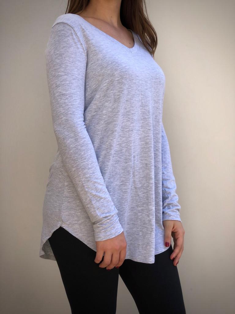 Plus Size Long Sleeve V-Neck- Heather Grey