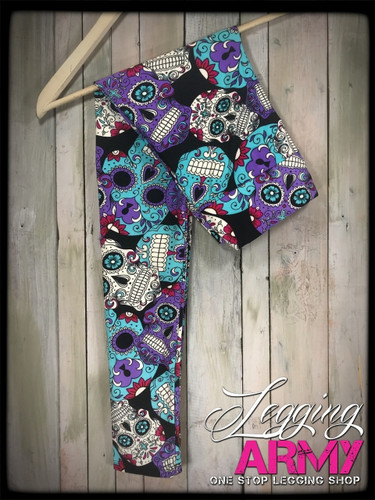 Yoga Waist Band- (Plus Size): Day Of The Dead