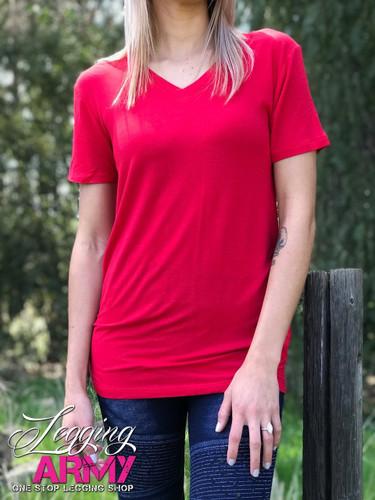 Birch V-Neck- Red