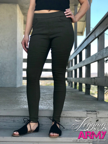 Premium Jeggings- Diamond: Olive