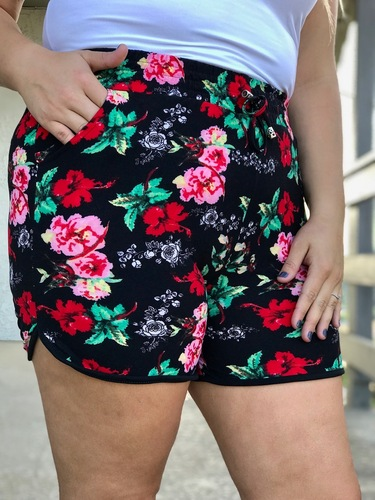 Plus Size Shorts- Summer Garden