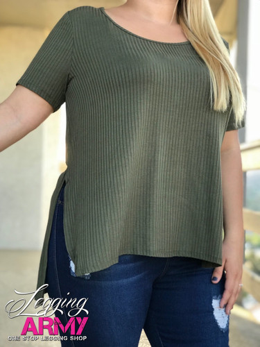 Plus Size Fluted Top- Olive