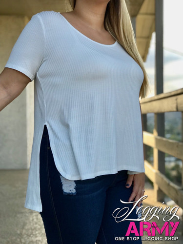 Plus Size Fluted Top- Ivory