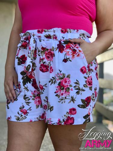 Plus Size Shorts- Ruffle My Roses