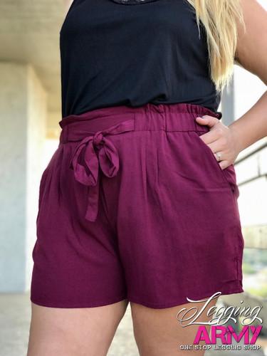 Plus Size Shorts- Burgundy