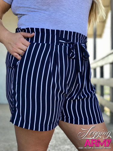 Plus Size Shorts- Navy With White Stripes