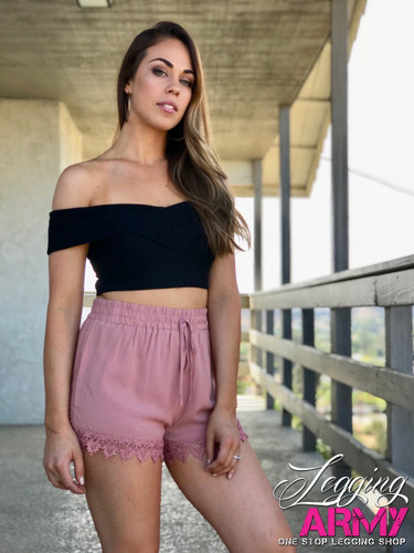 Shorts- Blush With Lace