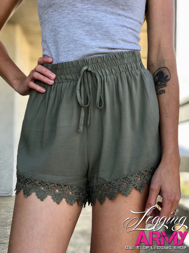 Shorts- Olive With Lace