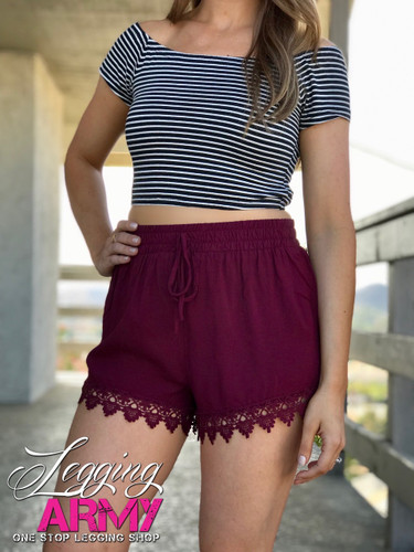 Shorts- Burgundy With Lace