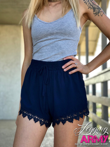 Shorts- Navy With Lace
