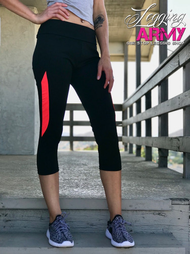 Capri Active Wear- Solid Black With Coral