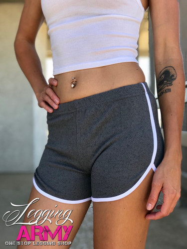 Shorts With White Outline- Charcoal