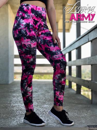 Active Wear- Tye Dye: Pink And Black Spots