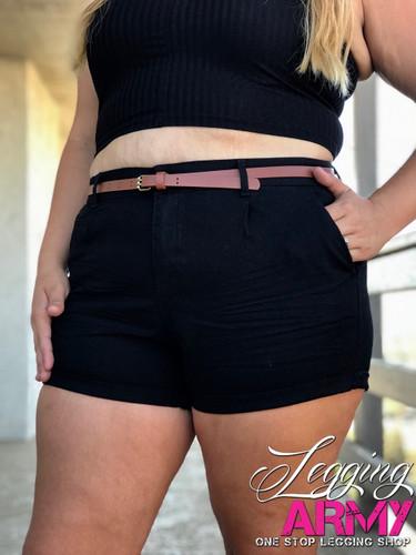 Plus Size Shorts With Belt- Black