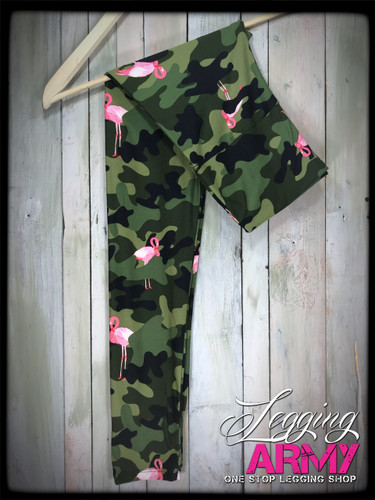 """Yoga 5"""" Waistband- (Plus Size): Armed And Flocked (ARMY)"""