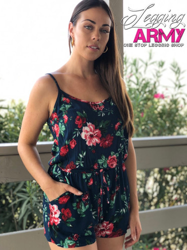 Romper With Straps- Evening Roses