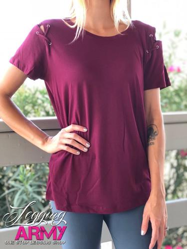 Eyelet Lace Up Shirt- Burgundy