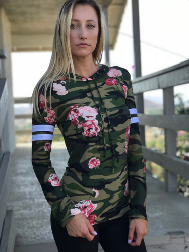 Long Sleeve Top- Army of Roses