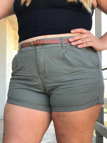 Plus Size Shorts With Belt- Olive