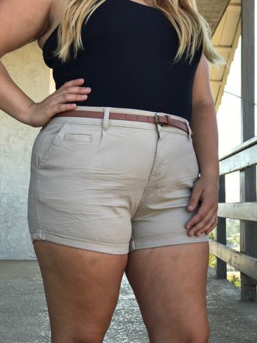 Plus Size Shorts With Belt- Kahki