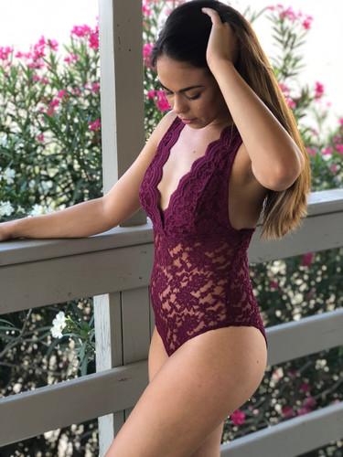 Lace Bodysuit- Burgundy