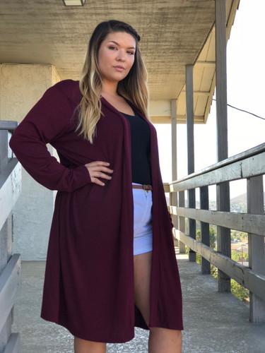 Plus Size Cardigan- Sequoia- Burgundy