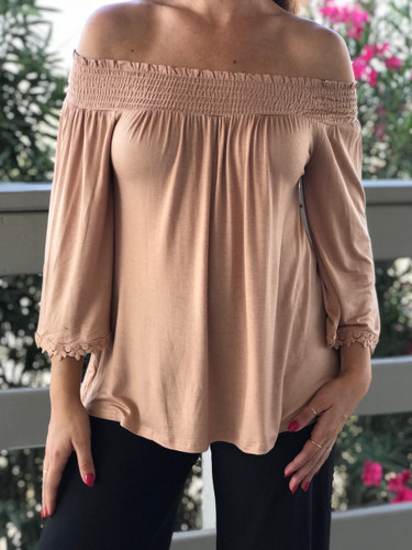 Off The Shoulder Ruffle Top- Peach