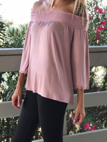 Off The Shoulder Ruffle Top- Pink