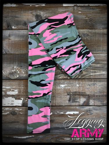 Yoga Waistband- (Plus Size): Stealth Pink Camo