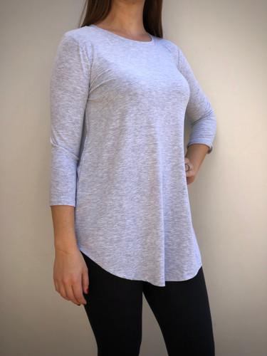 Plus Size 3/4 Sleeve Round Neck- Heather Grey