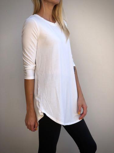 Plus Size 3/4 Sleeve Round Neck- Ivory