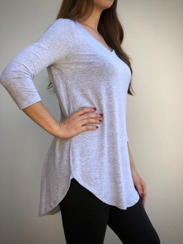 Plus Size 3/4 Sleeve V-Neck- Heather Grey
