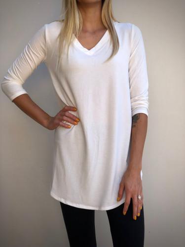 Plus Size 3/4 Sleeve V-Neck- Ivory