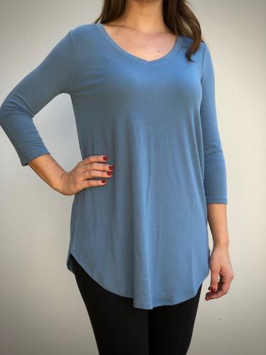 Plus Size 3/4 Sleeve V-Neck- Titanium