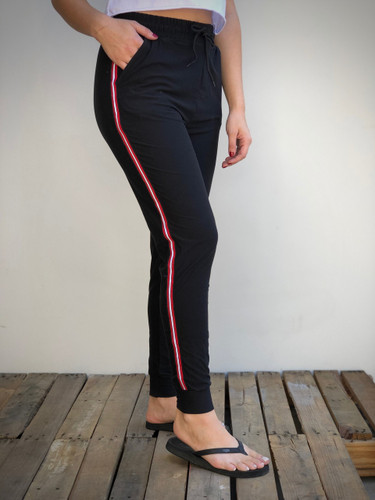 Jogger- Black With Red Stripe