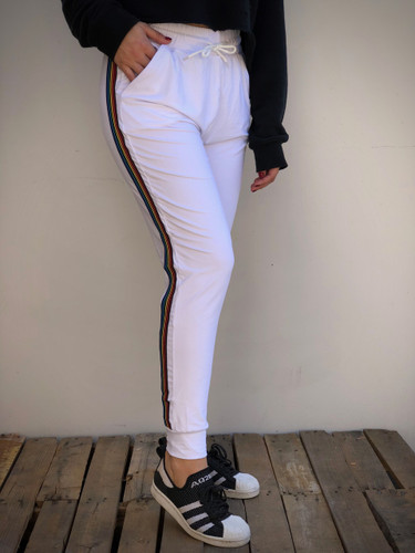 Jogger- White With Rainbows Stripes