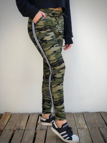 Jogger- Camo With Black And White Stripes