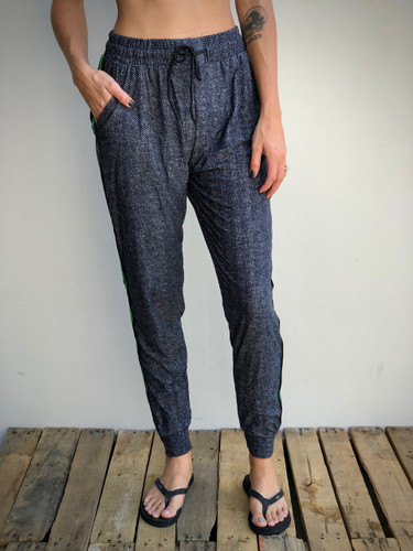 Jogger- Charcoal Chevron With Green Stripe
