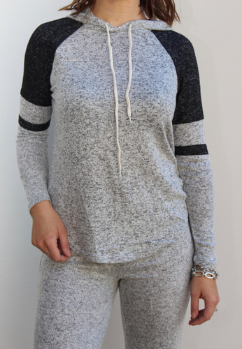 Striped Pullover Hoodie- Heather Grey
