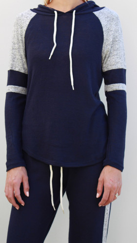 Striped Pullover Hoodie- Navy