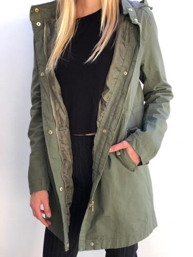 Hooded Anorak Jacket- Olive