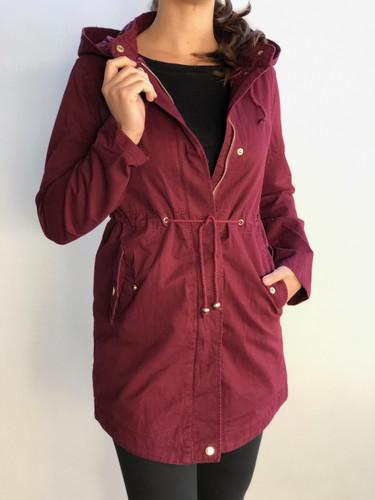 Hooded Anorak Jacket- Burgundy